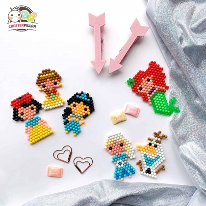 PRINCESS - DIY BEANIES CRAFT WITH MAGIC WATER FUSE & STICKY BEADS FOR KIDS
