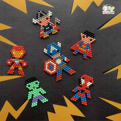 SUPERHEROES - DIY BEANIES CRAFT WITH MAGIC WATER FUSE & STICKY BEADS FOR KIDS