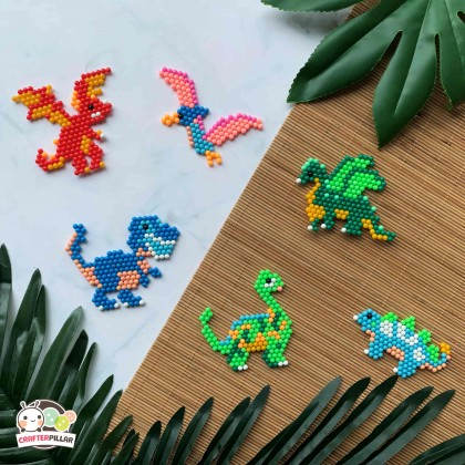 DINOSAUR - DIY BEANIES CRAFT WITH MAGIC WATER FUSE & STICKY BEADS FOR KIDS