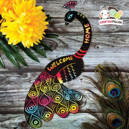 Peacock Door Hanger Scratch Art (Enjoy Special Price for Bundle Purchase)